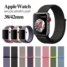 MU SEN Woven Nylon band strap for apple watch band 42mm 38 mm sport fabric nylon bracelet watchband for iwatch 3/2/1 black(China)