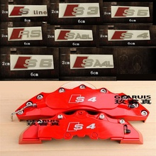 Durable RS Sline S line emblem logo Car PVC Race Trim Sticker Caliper Disc Brake wheel cylinder For Audi A4 A6 A5 A7 A3 Q3 Q5 Q7