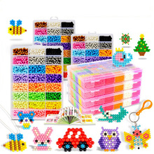 15 Colors Complete Set Magic Beads Aqua Beads Puzzles Kids Toys Birthday Gift Hama Beads Perler Beads Aquabeads Perlen 3d Puzzle(China)