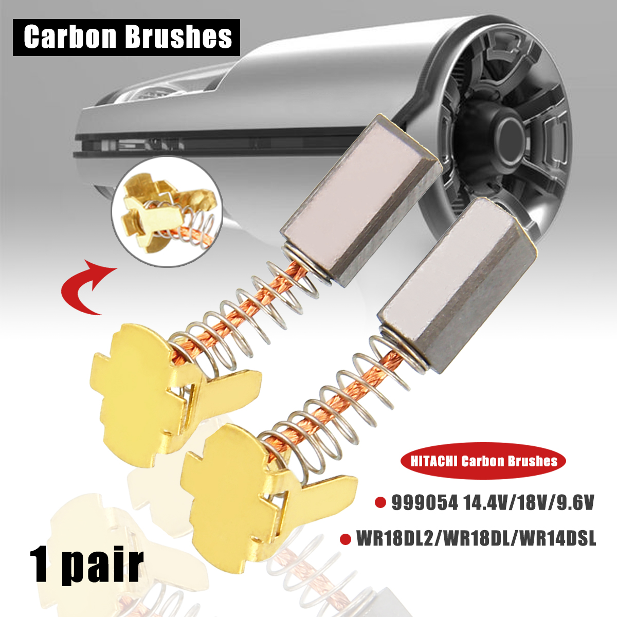 "Carbon Brushes For HITACHI WR9DM 3//8/"" 9.6v Impact Wrench"