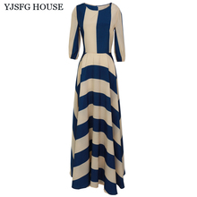 YJSFG HOUSE Fashion Elegant Women Striped Long Maxi Dresses Casual 2017 Half Sleeve Tunic Boho Beach Dress Ladies Party Dress