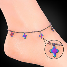 Foot Jewelry Stainless Steel Anklets For Women / Men Fashion 316L Stamp Cross Charms Ankle Bracelet On A Leg Chain GA1173(China)