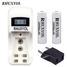 RHUXYOL LCD Display quick fast AA / AAA NiCd NiMh Battery Charger + 2pcs 2000mAh 1.2V AA Rechargeable cell Batteries bateria