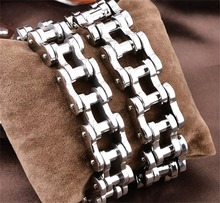1PC 2017 Hot New Fashion Men's Stainless Steel Motorcycle Bike Bicycle Chain Design Bracelet Silver Tone Special Gift