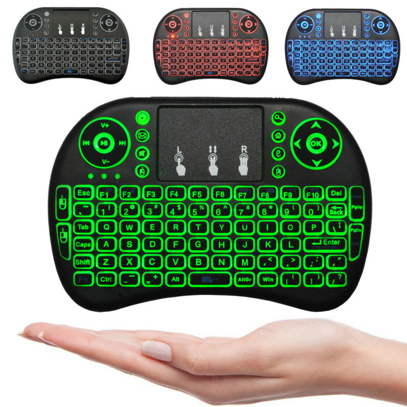 Mini i8 Wireless Keyboard 3 colour backlit 2.4GHz English Russian Remote Control Touchpad For Android TV Box Tablet PC Smart TV(China)