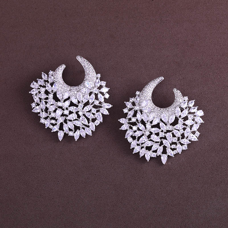 Earring better New flower shape and Cubic Zircon stud Earrings for Women gift for free shipping