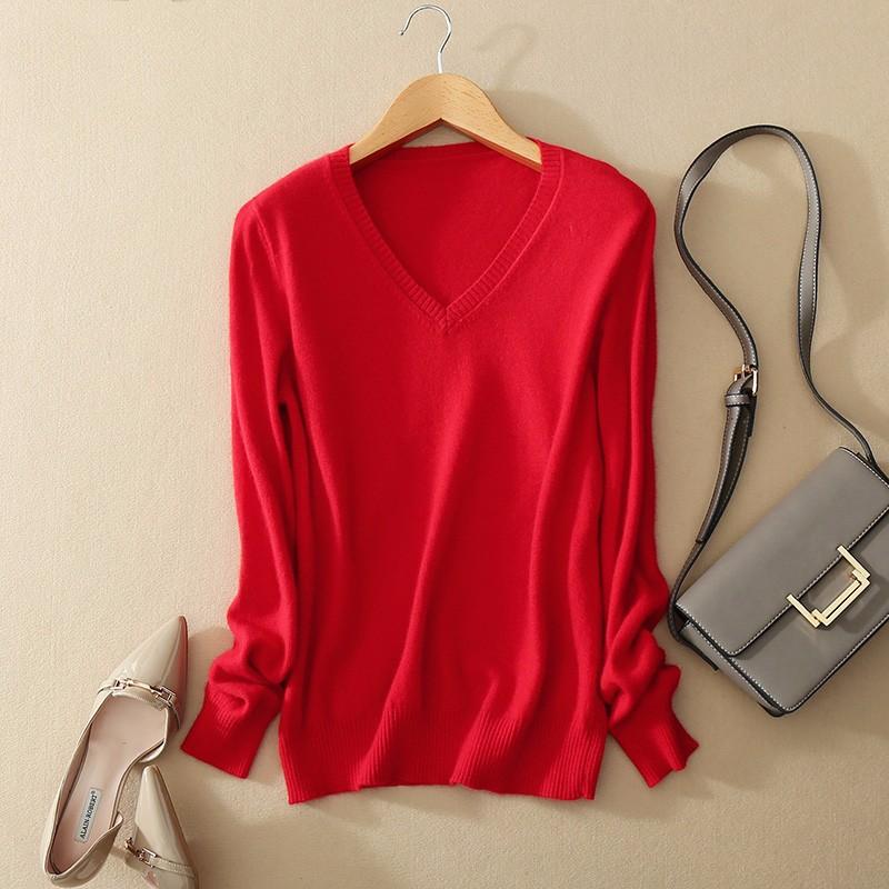 Cashmere Sweater V Neck Women Fashion Autumn Pullovers Knit Cashmere Sweater Women Slim Knit Coat Female Blouse Winter Knitwear 16