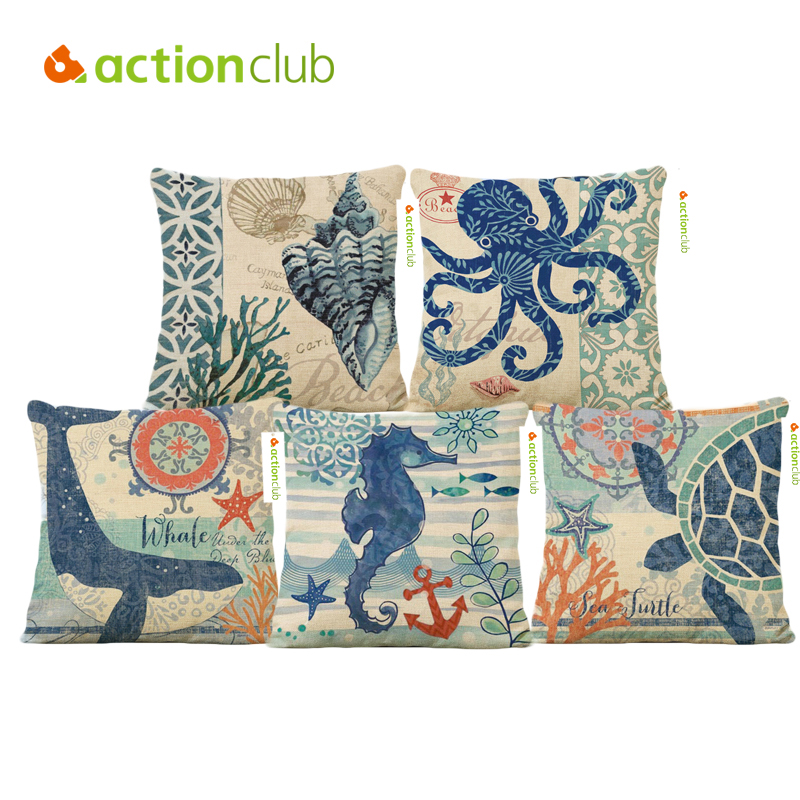 Actionclub Square Ocean Animal Octopus Starfish Printed Cushion Cover For Home Sofa Pillow Cover cojines decorativos HH1921(China (Mainland))