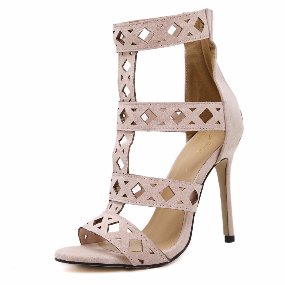 New women pumps high heels gladiator sandals shoes woman peep toe cut-outs party wedding dress ol stiletto ladeis shoes 35-40<br><br>Aliexpress