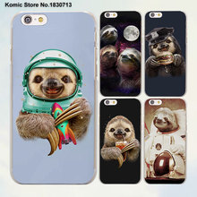 Astronaut animal dog cow Sloth pet hard transparent clear phone Case for Apple iPhone 7 6 6s Plus SE 4s 5 5s 5c
