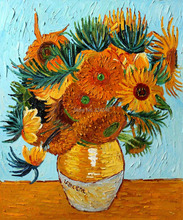 Handpainted Flower Panting Sunflower Collage Van Gogh Oil Painting on Canvas Floral Painting for Wall Hanging