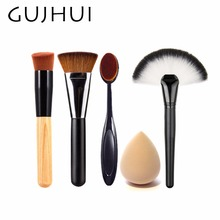4pcs Best Makeup Brush Set Powder Foundation Travel Cosmetic Brushes Contouring Fan Makeup Brush Tools With Sponge Puff #86764(China)