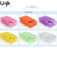 Urijk Translucent Storage Shoebox Candy Color Metal-edged Drawer Type Plastic Storage Box Storage Kinds Of Colors Simple