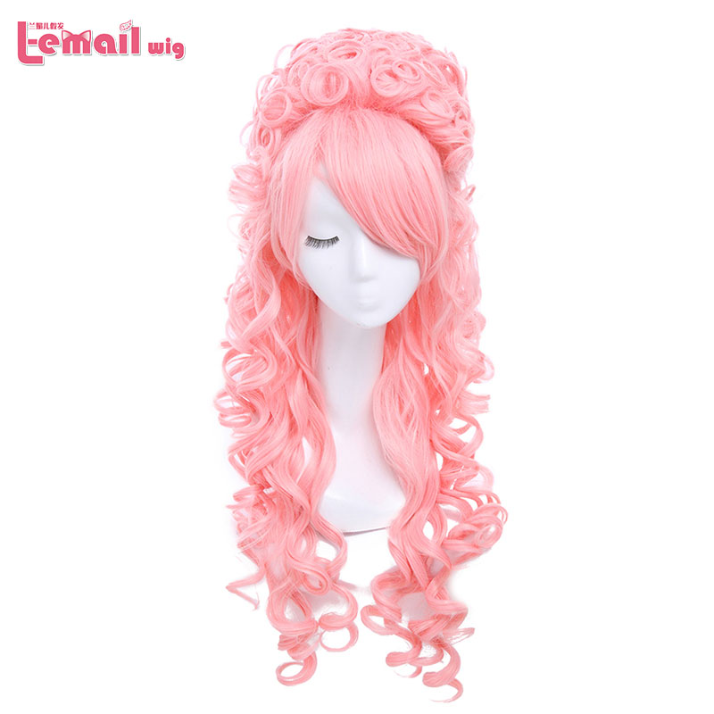 L-email wig New arrival 80cm Long Curly Pink  Marie Antoinette Anime Cosplay Wig With Bangs ZY34F<br><br>Aliexpress