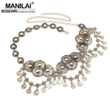 MANILAI Bohemia Gypsy Beachy Vintage Silver Color Belts Body Chain Jewelry Women Coin Pendant Belly Chain Statement Accessories
