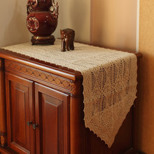 American style country  crochet table runner  100% cotton crochet  table cloth  Lace  table runner  white ,beige