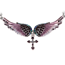 Angel wing cross necklace women biker jewelry gifts W/ crystal adjustable antique silver color NC01 wholesale dropshipping