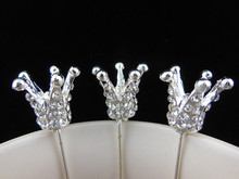 12 Pcs Crown Popular Shiny Silver Crystal Prom Queen Jewelry Hair Pins