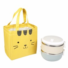 Small Bag Lunch Box Snack Pack Picnic Totes Carry Case Lovely canvas Insulated Cooler lunch bag Thermal For Kids Women