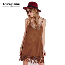 Lescamania Summer Straps Backless V-neck Tassel Dress Faux Suede Beach Casual Women Dress Bohemian Slim A-line Dress