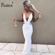 Feditch 2018 New Sequined Halter Dress Women Sexy Hollow Out Slim Women Christmas Dress Elegant Maxi Long Evening Party Dresses(China)