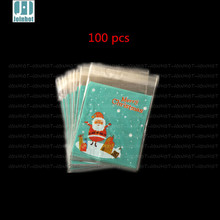 Real Free Shipping 100pcs/lot blue santa  merry christmas  plastic biscuit packaging bags cookies packing cake tools