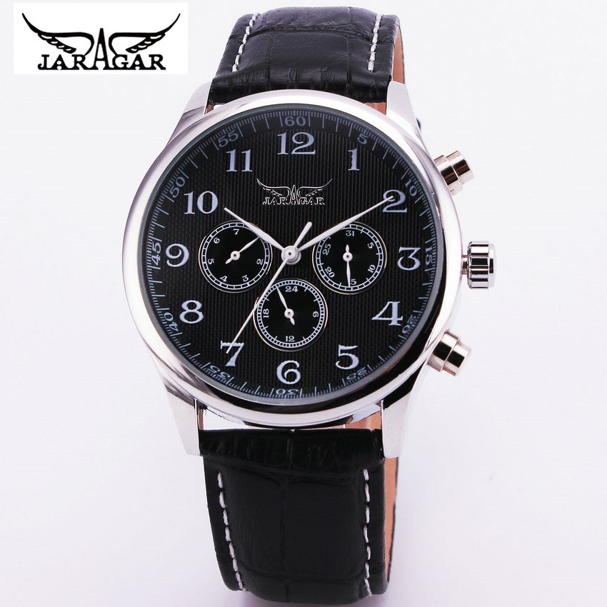 JARAGAR Fashion Men 6 Hands Week/Date/24H Auto Mechanical Wrist Watch Wristwatches  Gift Free Ship<br><br>Aliexpress