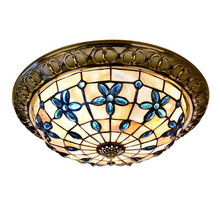 Bedroom Ceiling Light Blue Flower Natural Shell Cover Metal Body Surface Mounted Ceiling Lamp