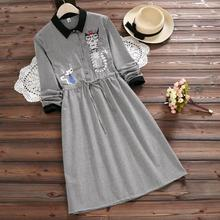 Buy Mori Girl Fall Clothes 2017 New Autumn Plaid Cotton Dress Women Long Sleeved Cat Embroidery Slim Waist Vintage Dresses for $18.03 in AliExpress store