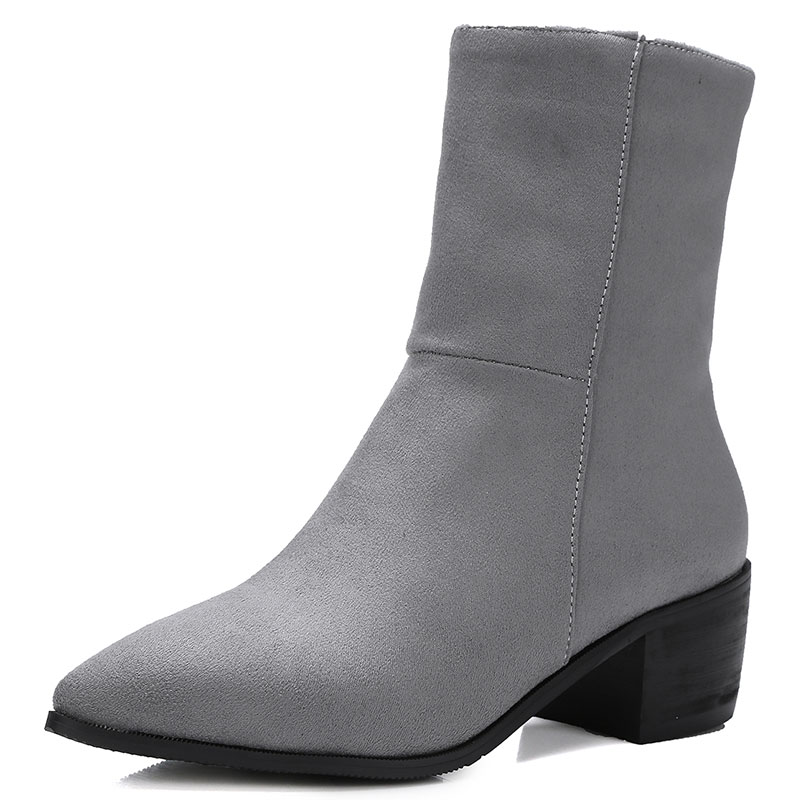 new winter elegant lady series simple senior nubuck leather pointed toe shoes woman ankle boots med and thick woman boots ss520<br>
