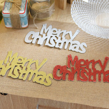 HAOCHU 2Pcs/lot Merry Christmas Paper Letter Cards for Christmas Tree Decoration New Year Market Wreath Drop Ornament