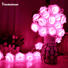 IP65 Waterproof RGB LED Strip Flexible Lights 20 x LED Rose String Light Wedding Garden Party Decoration for AA Battery(China)