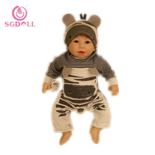 "[SGDOLL] 2017 New Reborn Cartoon Toddler Doll 20"" Handmade Lifelike Baby Solid Silicone Vinyl Boy Doll 17030207(China)"