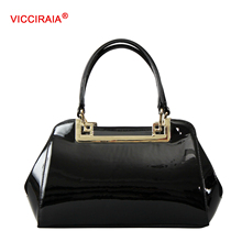 VICCIRAIA New Black PU Leather Women Handbag Luxury Imitation Leather Lady Totes Bags