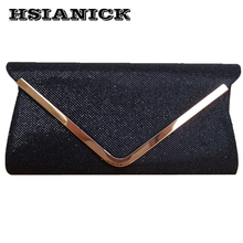 2017 Hot Sale Promotion Day Clutches Black Silver Shoulder V Metal Chain Design Glitter Shine Bag Elegant Handbag Women Clutch(China)