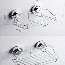 Stainless Steel Kitchen Bathroom Shower Shelf Storage Suction Basket Caddy  Rack Holder Bathroom Products F916