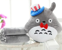 1pc 150cm Miyazaki Hayao circus hat totoro plush doll coral fleece rest office cushion + blanket stuffed toy romantic gift