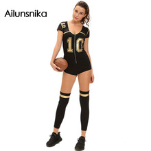 Ailunsnik 2017 Belle Club Football Costume New Fashion Women Romper and Jumpsuit Sexy Cosplay Sport Costume With Stocking DL8964