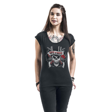 Gun N Roses Print Destroyed Cut Out Back Ripped Cool Punk Style Women Fashion Club Shirts Rock Music Festival Clothing