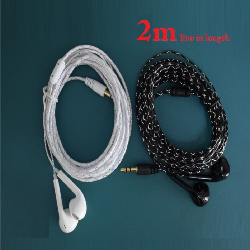 20Pcs/Lot 2M Line Length Wired Earphones Stereo Crystal Line Headphone Black White for Video Live Video Game Factory Wholesale<br>