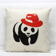 "Square 18"" Linen Home Decorative Chinese Cartoon Panda With Red Hat Cushion Cover Home Decorative Pillow Cover Sofa Pillowcases"