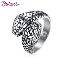 Beiliwol Silver Color 316L Stainless Steel Retro Style Steel Rings for Men Personality Python Punk Jewelry Accessories No Fade