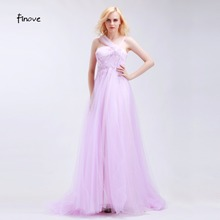 Finove Lavender Tulle Halter Prom Dresses Sleeveless A-Line Elegant Floor Length 2017 Appliques Beading Flowers Bridesmaid Gowns(China)