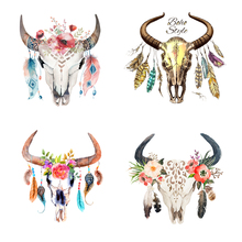 Colife Animal Patches T-shirt Press Sticker Skull Bull Patch Clothes Decoration Easy Print By Household Irons 4pcs/lot(China)
