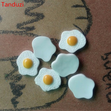 Tanduzi 20pcs Flatback Resin Cabochons Kawaii Simulation Food Poached Eggs DIY 1:12 Dollhouse Miniature Decoration Resin Crafts(China)
