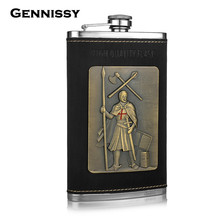 GENNISSY 10oz Crusader Design Leather Flask Germany 304 Stainless Steel Travel Portable Alcohol Mini Hip Flasks Soldiers Gifts