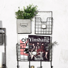 Iron Storage Box Wall Decoration Hanging on the Wall Retro Newspaper Rack Basket Magazine Rack(China)