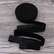 "120yards/lot 5/8"" (16mm) Black Shiny Solid Fold Over Elastic Ribbon FOE for Elastic Headbands Hair Ties Hairbow"