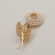 Free shipping fashion woman new Zinc Alloy Imitation Pearls Artificial Jewelery Sunflower Gold Neutral Brooch Sets(China)