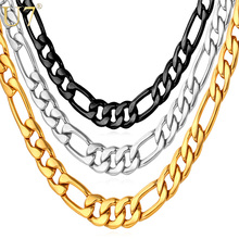 U7 Mens Necklaces Stainless Steel Black/Gold Color Dropshipping Wholesale 5MM Choker/Long Figaro Chain Necklace Men Jewelry N141(China)